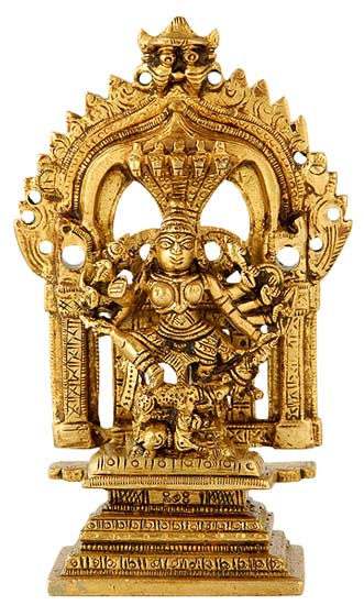 Goddess Durga Holding Demon King Mahishasura