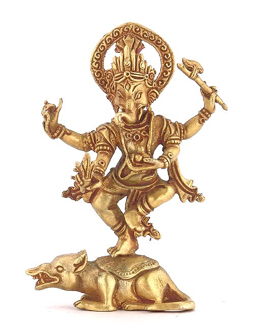Lord Ganesh Dancing on Rat - Nepalese lost wax craft
