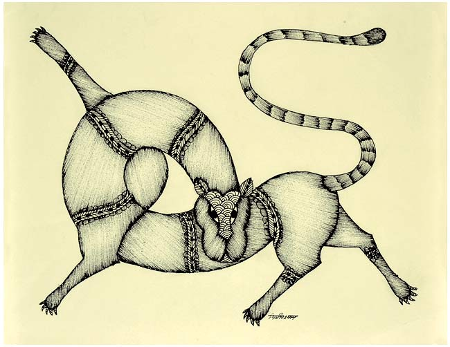 Amazing Leopard - Gond Painting