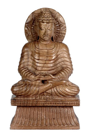 Awakening Buddha - Wood Carving 12""