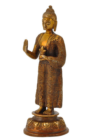 Standing Medicine Buddha with Carved Robe 7.75""