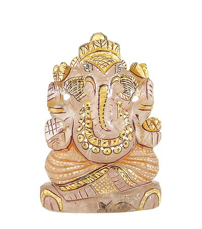 Lord Ganesha - Rose Quartz Statue