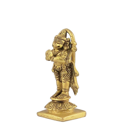 Mighty Lord Hanuman - Brass Statue 3.25""