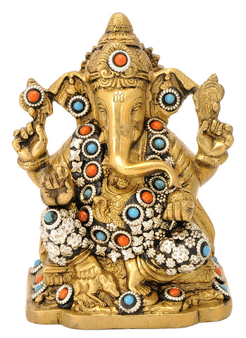 God Ganesh Seated on Chowki 5.90""