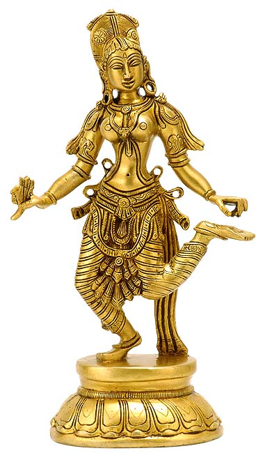 Indian Lady Dancer - Brass Statue