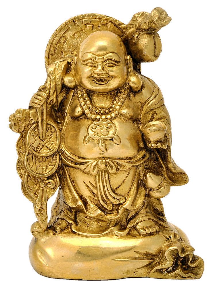 Feng Shui Laughing Buddha Brass Figure