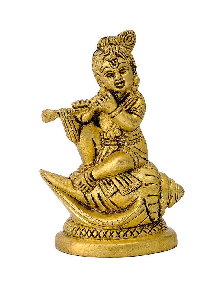 Bala Krishna Playing Flute Seated on Conch