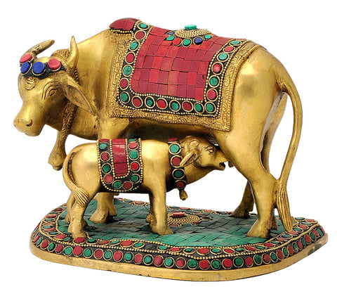 Cow Feeding Her Calf Brass Figurine 6.25""