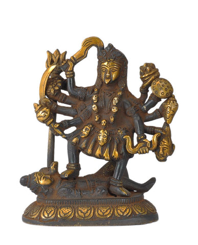 Goddess Mahakali Antiquated Brass Statue in Traditional Style 6""