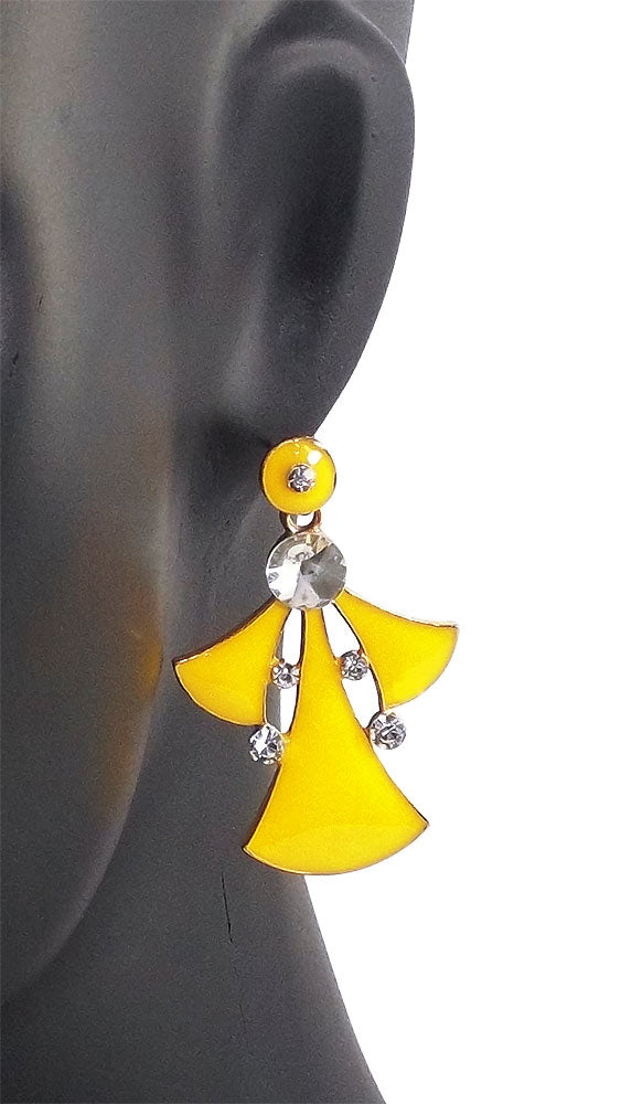 Yellow Earrings For Women - Stone Studded Dangle & Drop