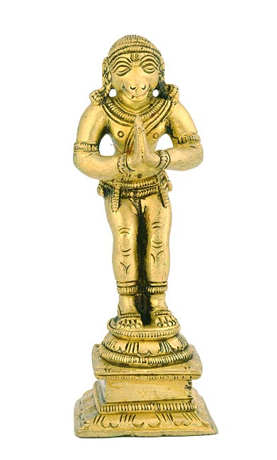 Disciple of Lord Rama 'Hanuman Ji' Brass Statue 4.5""