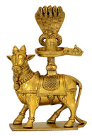 Nandi Carrying Shivalinga Protected by Hodded Serpent