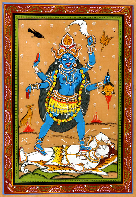 Kali The Forcefull-Traditional Pata Painting 12""