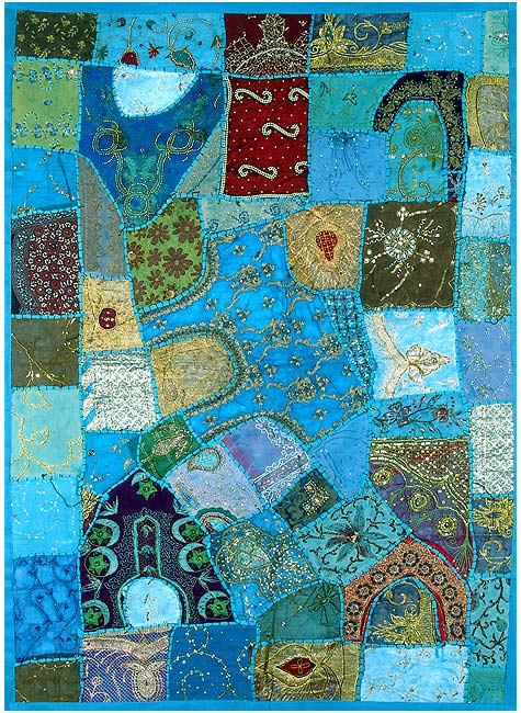 Gujarati Wall Hanging 'Blue Pond'