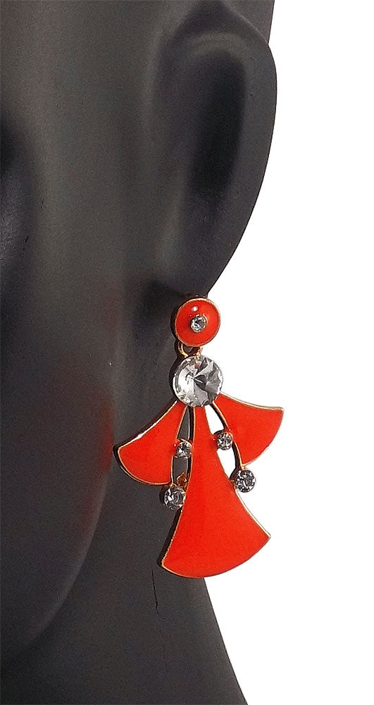 Orange Stone Studded Metal Earring Dangle & Drop