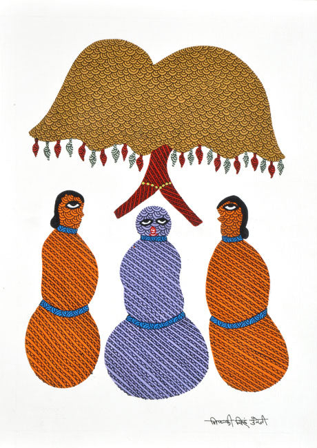 Gossipping Ladies - Gond Daily Life Painting