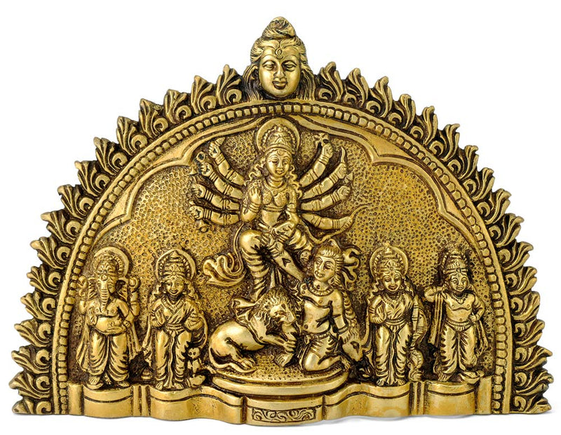 Goddess Durga - Brass Wall Plaque