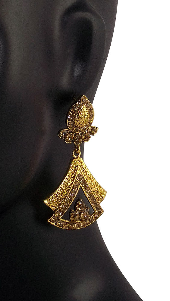 Gold Plated Stone Studded Traditional Earrings