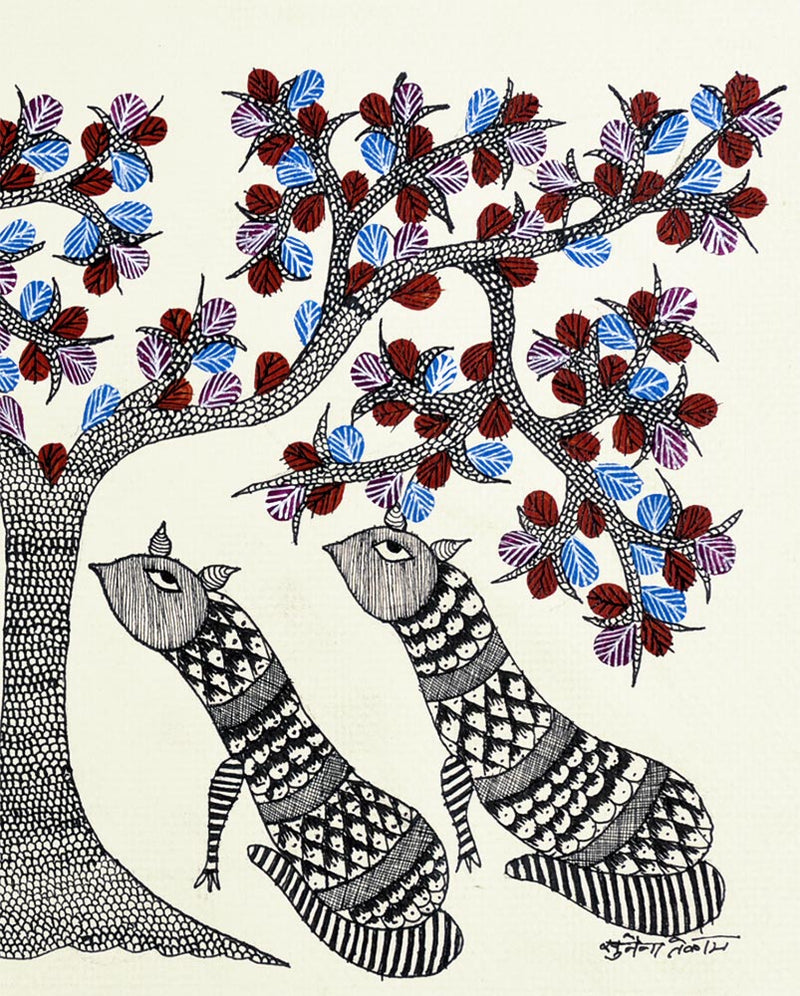 Big Cats Under the Tree - Gond Painting