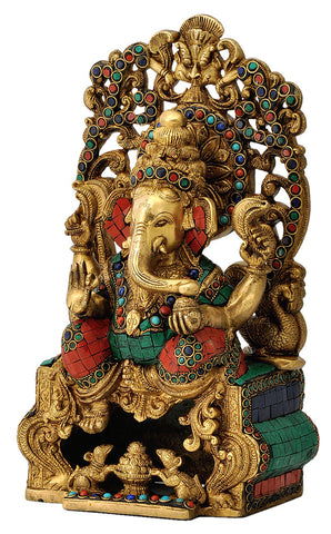 Enthroned Ganesha Ornate Brass Figure