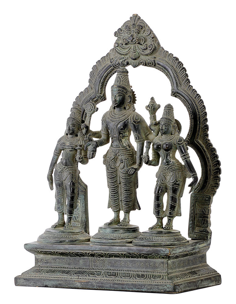 Antiquated Lord Vishnu with Consort Bhudevi and Sridevi