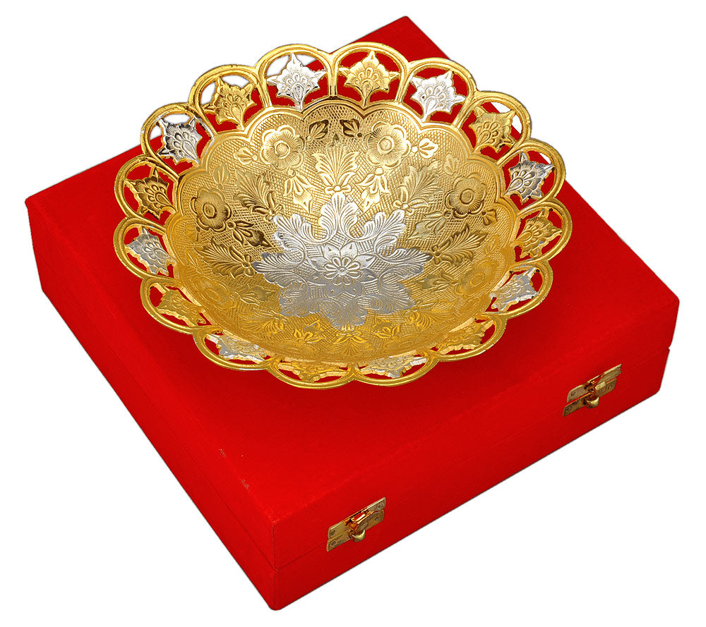 Elegant Gold & Silver Plated Serving Bowl