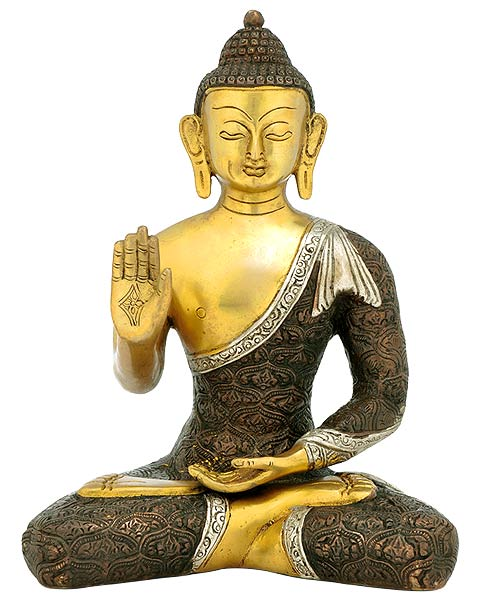 Lord Buddha - Brass Sculpture 11""