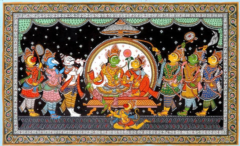Court of Lord Rama - Traditional Patachitra Painting 19""