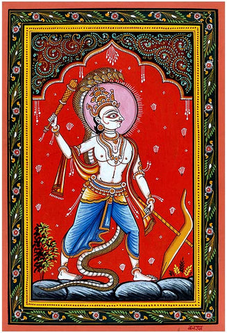 """Lord Balarama Holding Mace"" Patachitra Painting 19"""