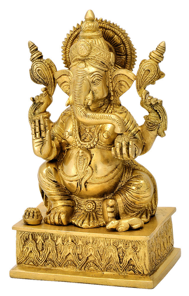 Exquisite Blessing Lord Vinayaka Brass Sculpture 8.75""