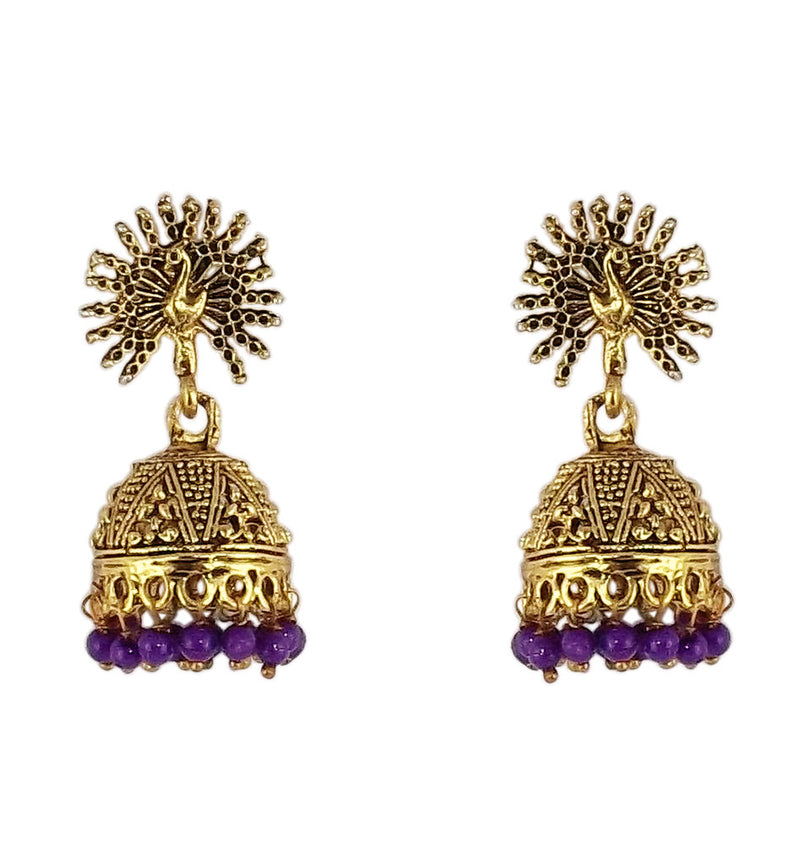 Peacock Beautiful Indian Style Jhumki Earrings Purple