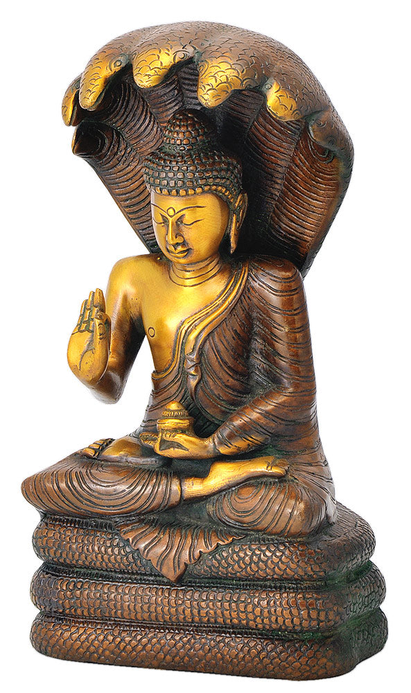 Naga Buddha Statue with Seven Head Snake Guardian