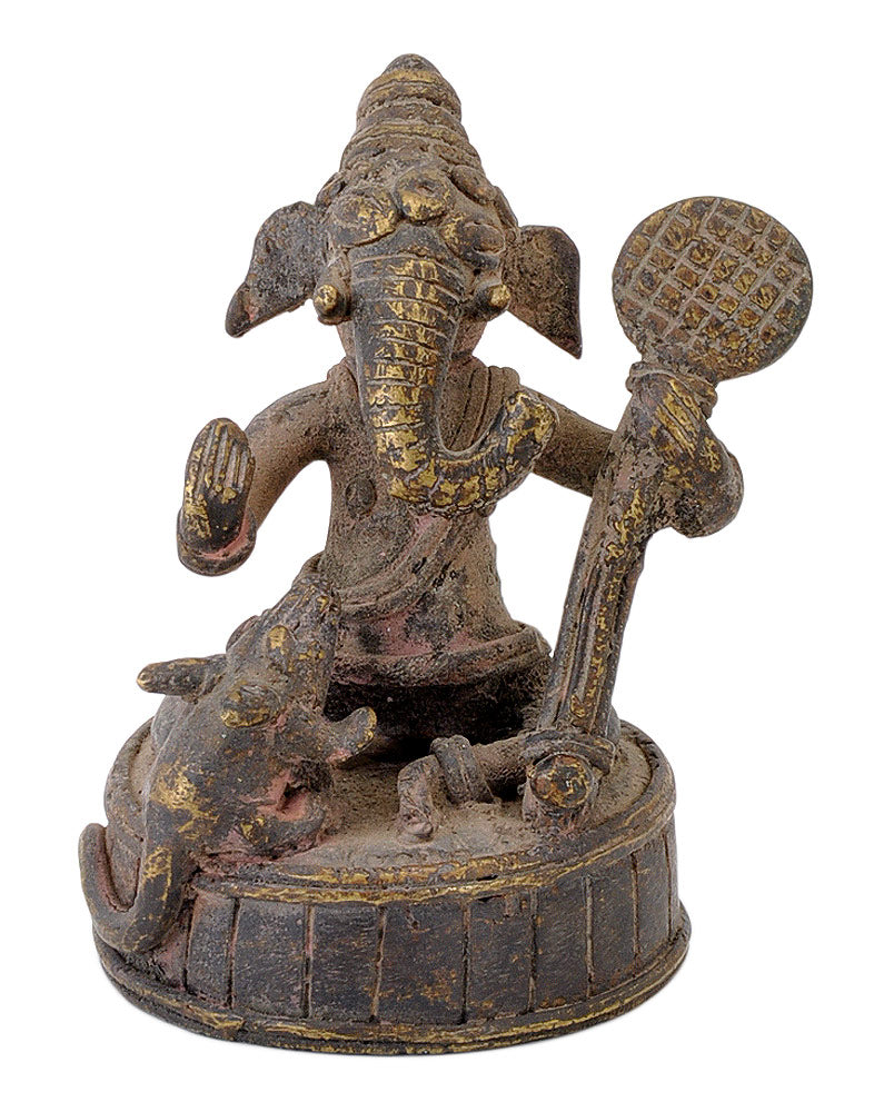 Antiquated Ganesha Folkart Statue in Brass