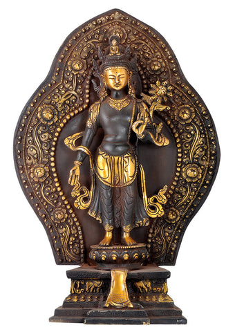 Antiquated Buddhist Avalokitehvara Brass Statue 15""