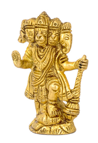 Five Headed Hanuman - Small Brass Statue