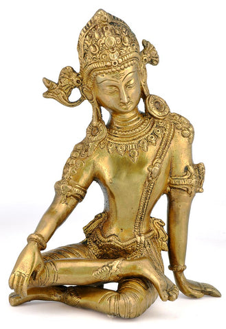 Indra Lord of  of Heaven - Brass Statuette 9.50""