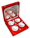 German Silver Set of 4 Bowls with Spoons & Tray