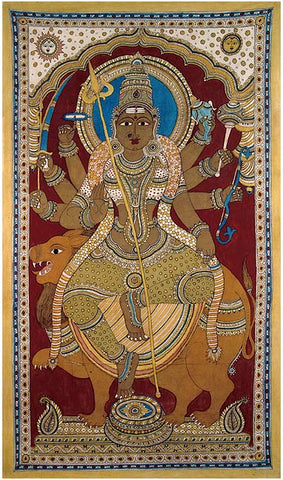 Goddess Durga - Large Kalamkari Painting 80""