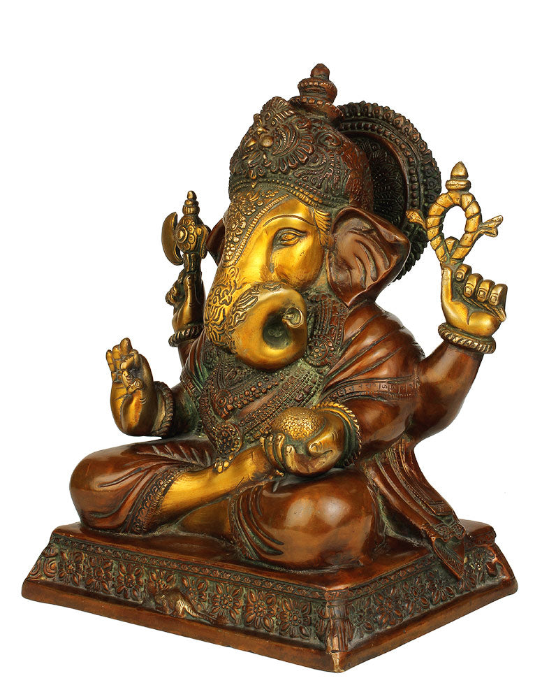 God Siddhi Vinayak Brass Statue with Color Finish 12.75""