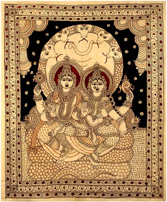 Vishnu Lakshmi Seated on Shesh Naga - Kalamkari Painting