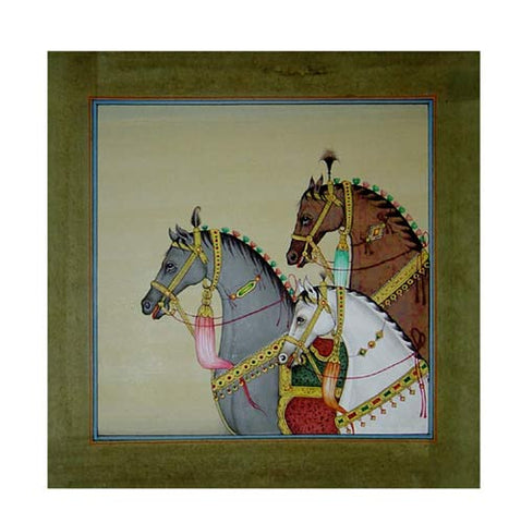 Group of Stallions - Jaipur Miniature Painting