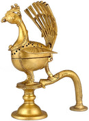 Peacock Incense Burner - Brass Figurine
