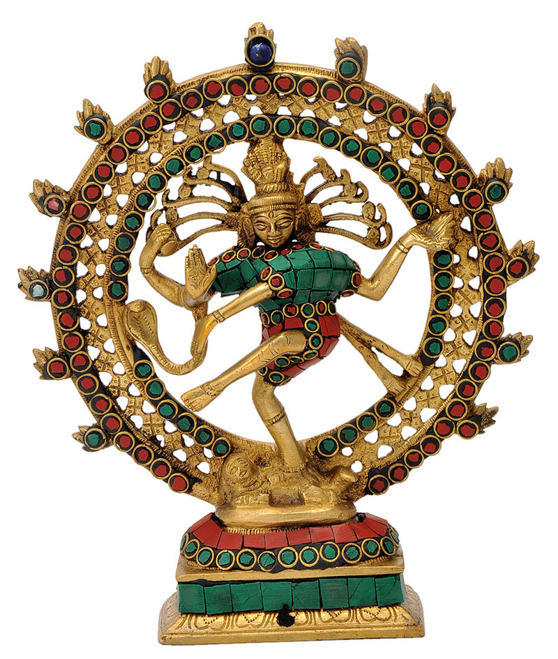 Lord Nataraja Ornate Statue in Coral Turquoise Color