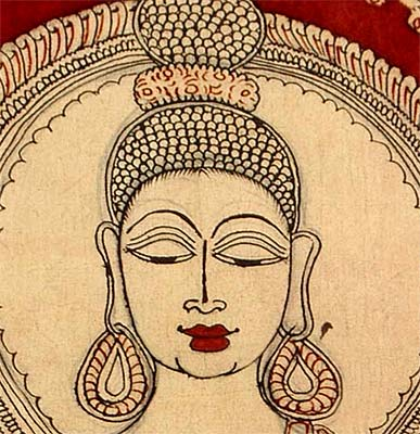 Gracious Buddha - Cotton Kalamkari Painting 37""