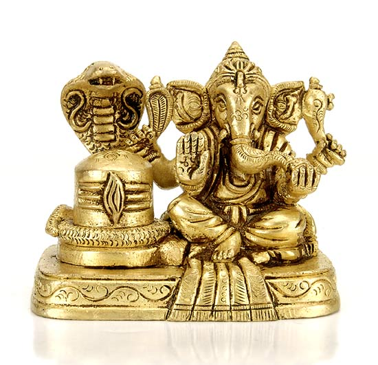 Lord Ganesh with Shivling - Miniature Statue