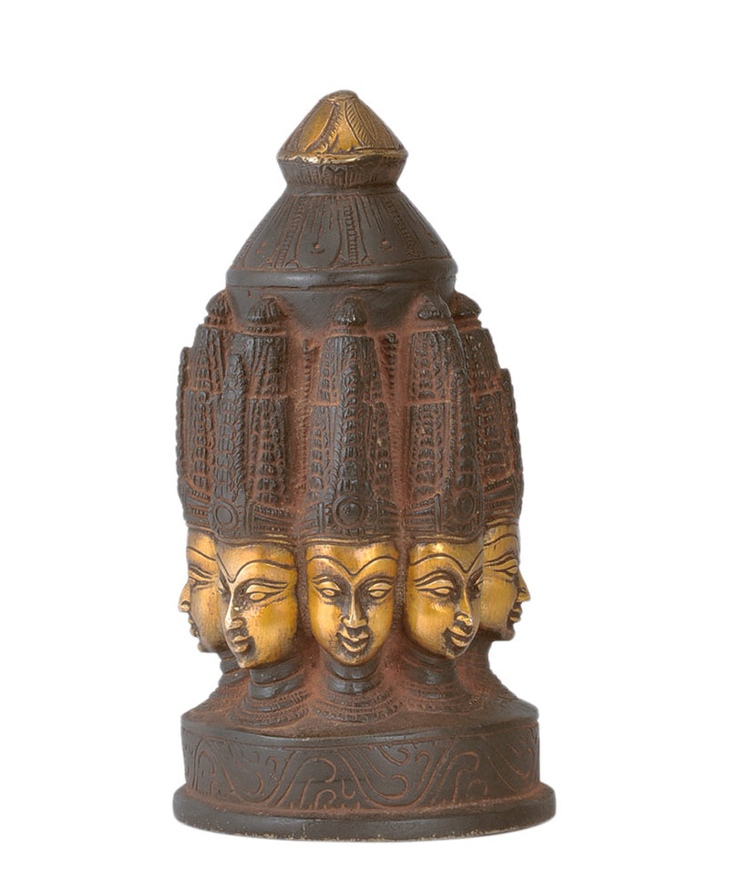 Antiquated Shiva Mandala - Brass Statue 7.5""