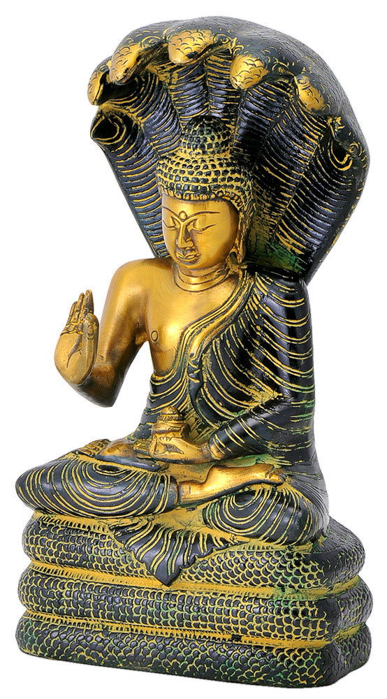 Antiquated Buddha Statue with Seven Head Snake Guardian