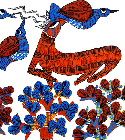 Nature and Life - Gond Art Panting