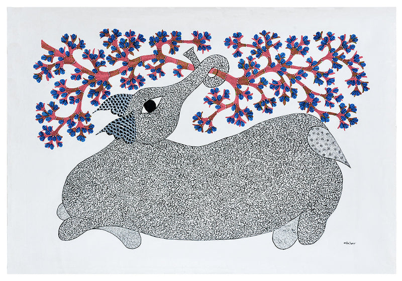 Baby Elephant in Playful Mood - Gond Painting