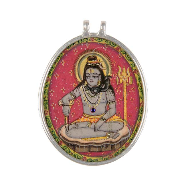 """Ascetic Shiva"" - Handpainted Pendant"